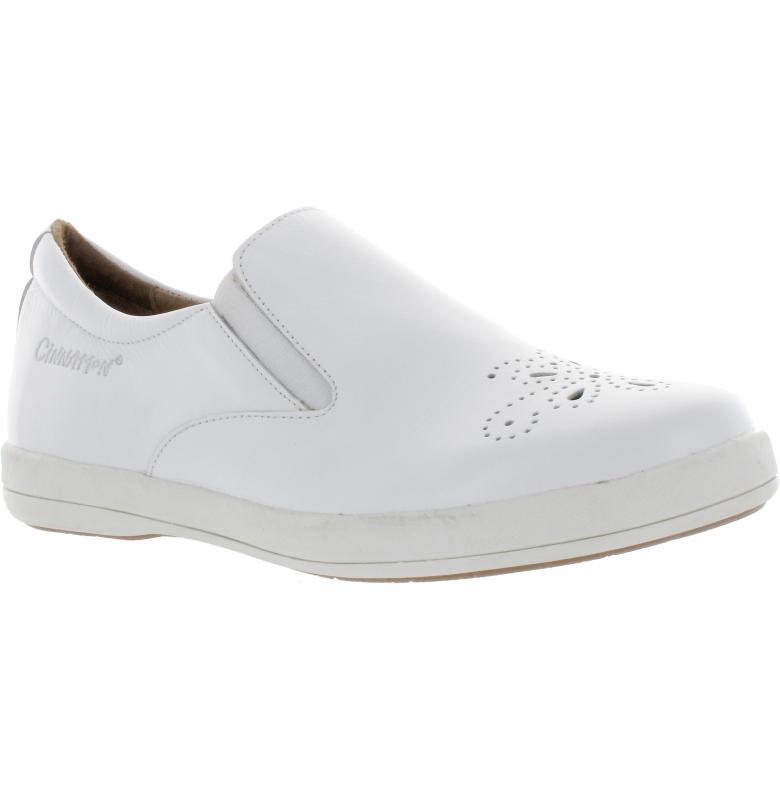 Alexia vit loafer i skinn, hålmönster