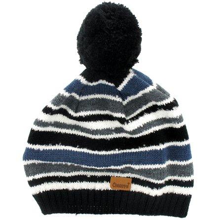 Stickad mössa grå/blå/svart i multirand
