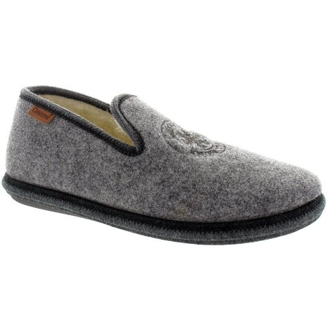 Pontus grå ulltoffel med värmande ullfoder