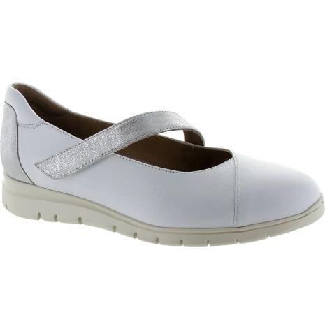 Carola vit/silver lätt ballerina med extra innersulor